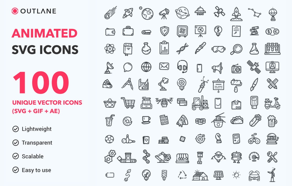 Animated SVG Icons Pack   OUTLANE